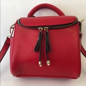 Red faux leather shoulder bag cross body purse